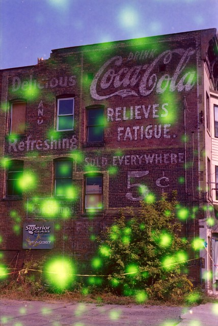 Coca-Cola ghost sign with Volvox film