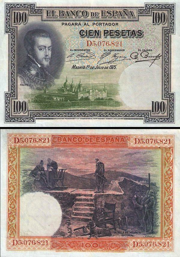 100 Pesetas Španielsko 1925