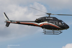 G-DCAM - 2007 build Eurocopter AS355 NP Ecureuil II, running down Runway 08 on departure from the heliport at Barton