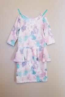 Watercolor floral peplum dress