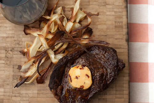 Ribeye with Chipotle Butter and Parsnip Chips
