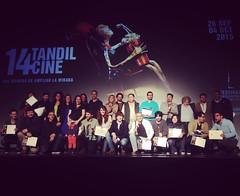 Todos los ganadores de #TandilCine anoche en la ceremonia de clausura luego de la proyección de #Pichuco