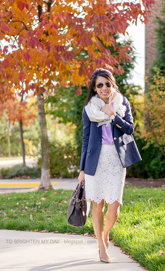 scarf, lilac sweater, navy blazer, oversized watch, lace pencil skirt, glitter pumps