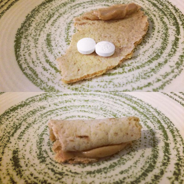 Homemade pill pocket, using peanut butter and a piece of flatbread. #dogs #pillingdogs #pillpockets #diy