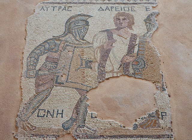 Mosaic depicting gladiators being separated by a referee, late-3rd century AD, House of the Gladiators, Kourion, Cyprus