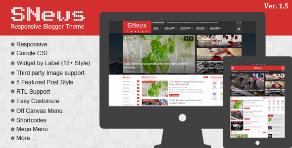 Themeforest SNews v1.5 – News/Magazine Responsive Blogger/Blogspot Theme