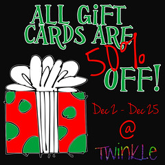 50% off sale on all Gift Cards @ Twinkle!