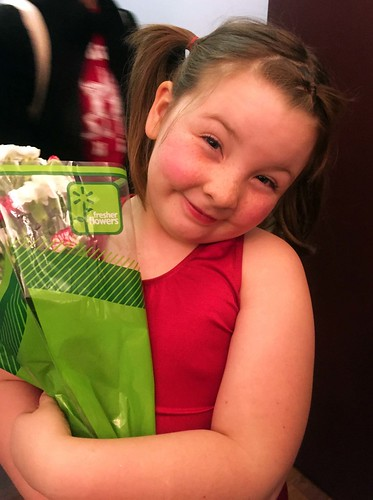 Lucy with her flowers after her holiday show performance
