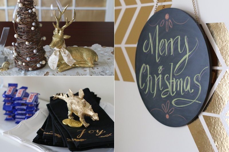 Christmas decor, reindeer, Merry Christmas chalkboard, joy