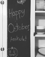 Love Letters, Part XII | San Marcos, Texas · #igtexas #igsanmarcos #loveletters #chalkboard #happyoctober #halloween #asshole #dimples