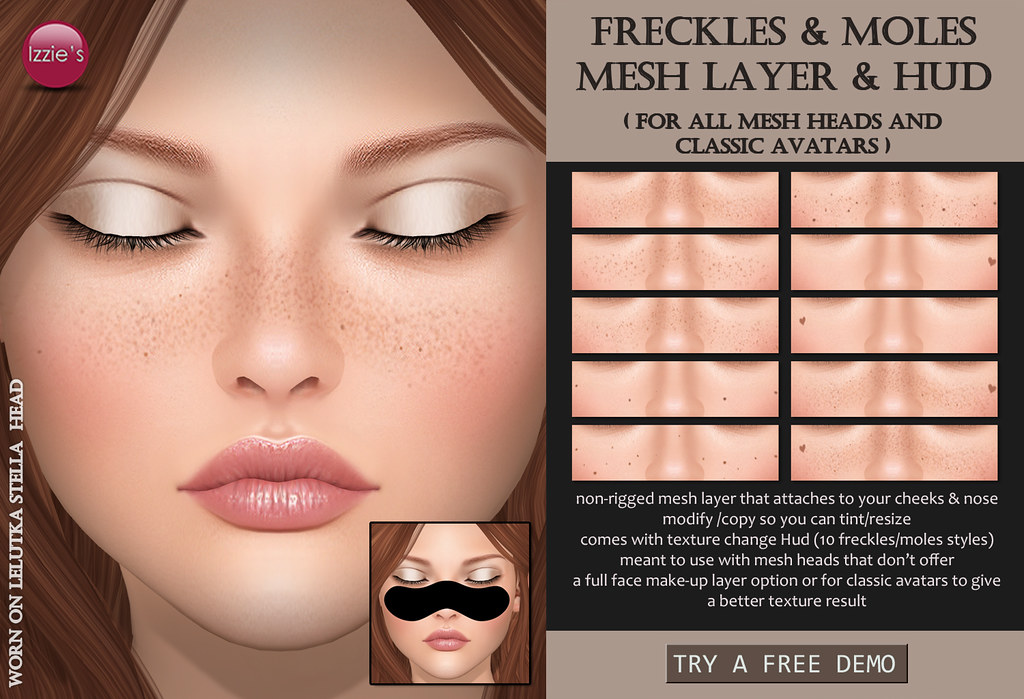 Freckles & Moles Mesh Layer & Hud - SecondLifeHub.com