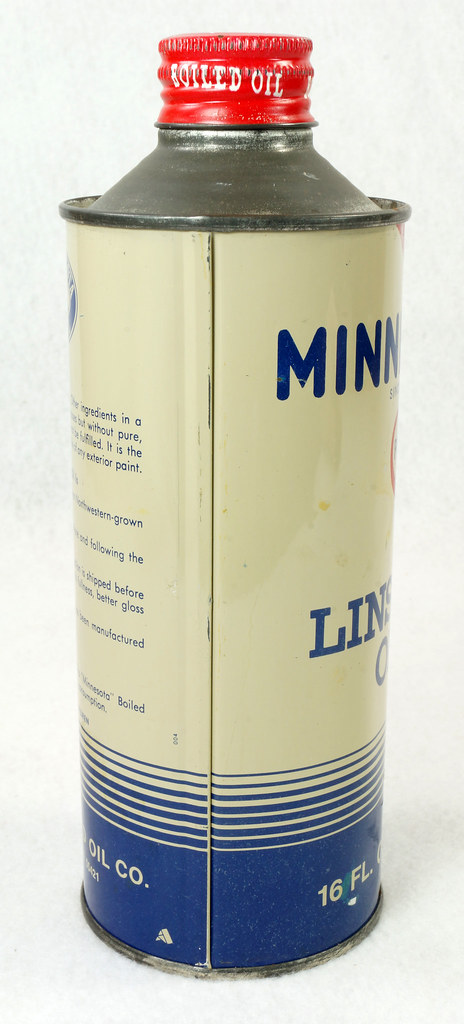 RD14765 Vintage Minnesota Pure Linseed Oil Minneapolis 16 oz Cone Top Tin Can DSC06094
