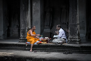 Image of Angkor Wat near Siem Reap. cambodia monk buddhist angkor pray religion buddha calm faith