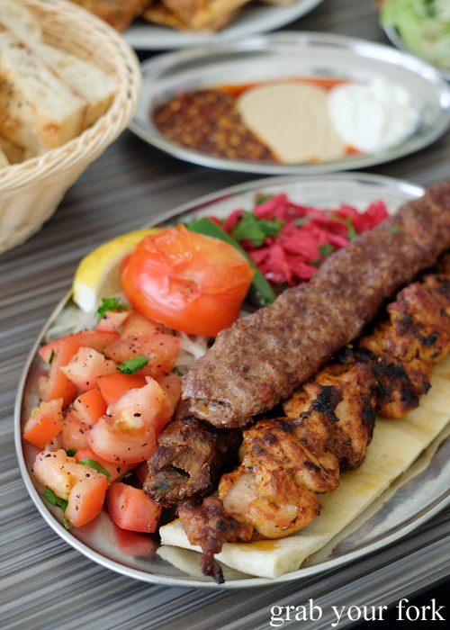 Mixed shish plate at New Star Kebabs, Auburn
