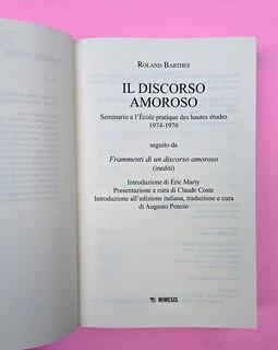 Roland Barthes, Il discorso amoroso. Mimesis 2015. Frontespizio, a pag. 3 (part.), 1
