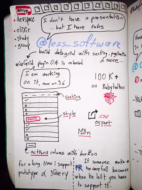 sketchnote data table with ruby on rails