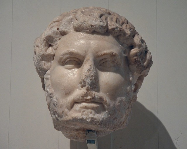 Head of Hadrian, of the so-called Chiaramonti 392 type, from Ephesus, found among the ruins of the Gate of Mazeus and Mithridates, Ephesos Museum Vienna, Austria