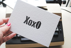 XOXO Letterpress flat cards set of 5pcs. Vintage wood type flat cards. Letterpress love cards. Letterpress stationery