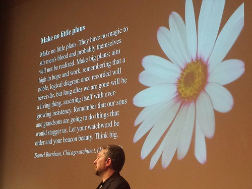 Make no little plans. Jason McLennan talking at LivingFutureLondon event.