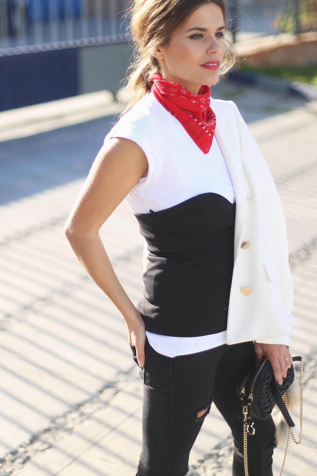 8. jessie chanes - white blazer gold studs booties