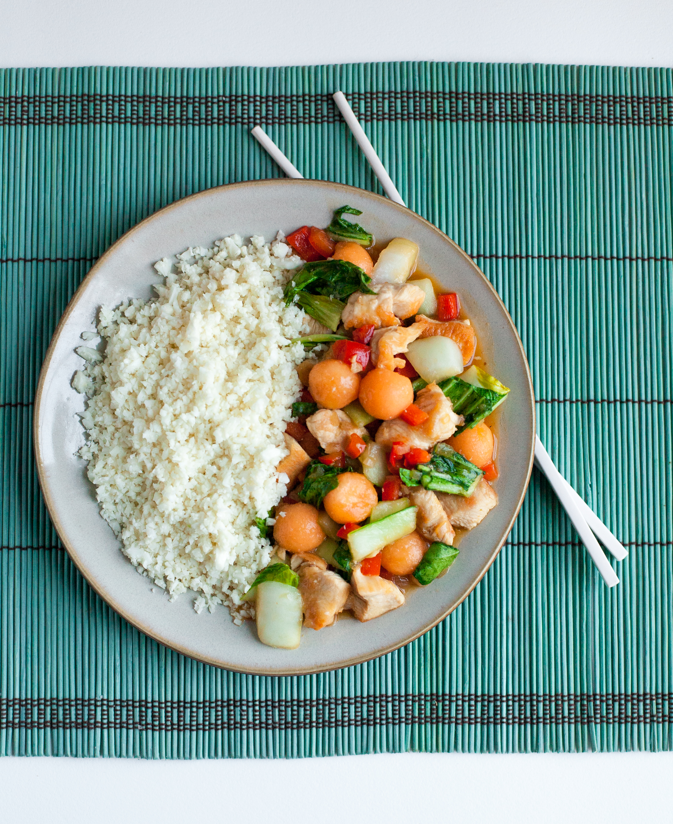 Chicken and Cantaloupe Stir-fry from Paleo Planet by Becky Winkler