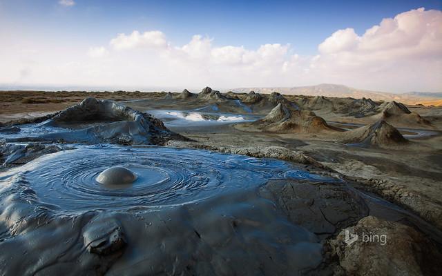 Mud volcanoes in Gobustan National Park, Azerbaijan