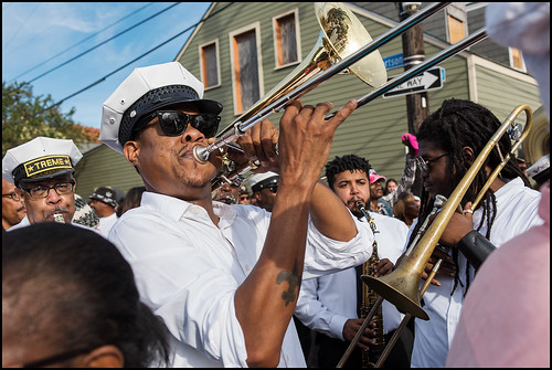 Corey Henry plays with Treme Brass Band during the Black Men of Labor Social Aid and Pleasure Club annual second line parade on October 23, 2016. Photo by Ryan Hodgson-Rigsbee rhrphoto.com