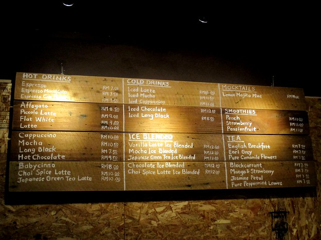 Upstairs Coffee menu