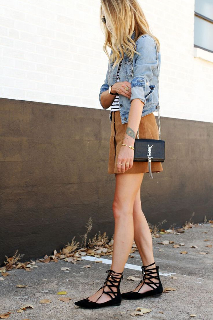 How to Wear Suede Skirt01