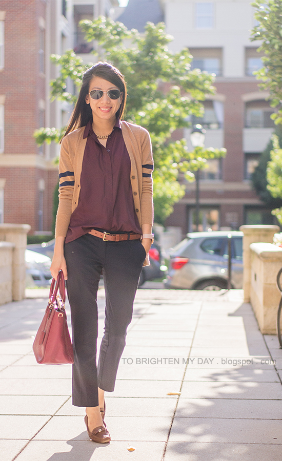 camel varsity stripe sweater, burgundy top, navy pants, brown loafers