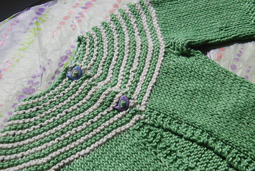 Yoke and buttons on handknit Gidday Baby cardigan by irieknit