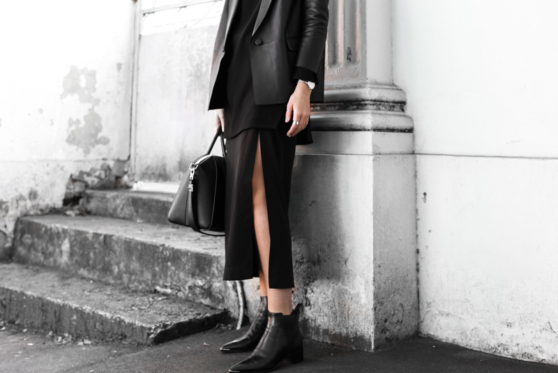 black leather blazer, Dion Lee split midi skirt, details, Acne Jensen boots, all black street style, modern legacy, fashion blog (1 of 1)