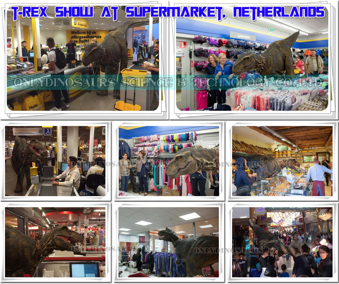 Walking Dinosaur Show at Supermarket