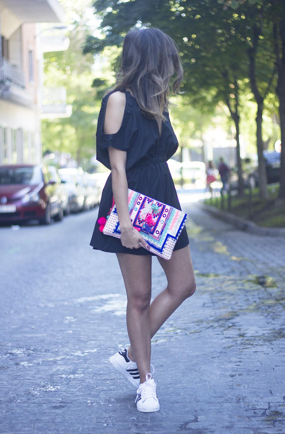 Black Jumpsuit With Adidas SuperStar20