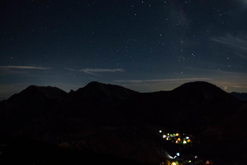 白馬山頂宿舎の稜線上よりみる星景(テン場)