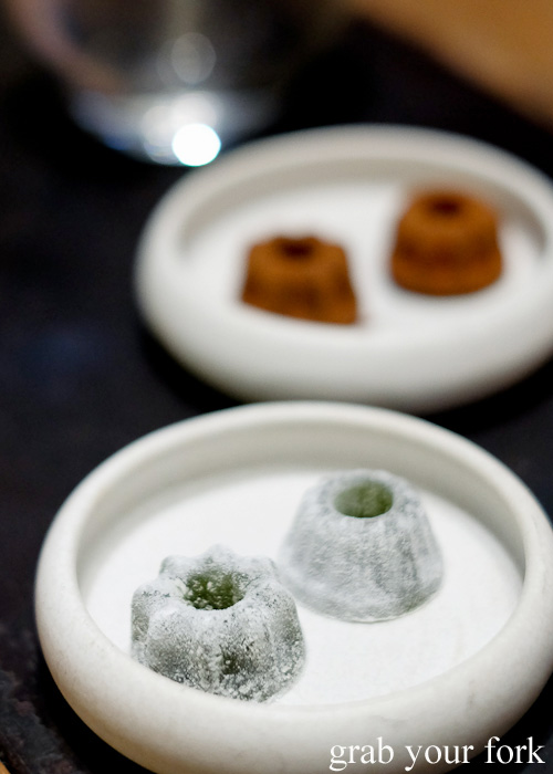 Fernet Branca jellies and chocolate jellies petit fours at Automata, Chippendale