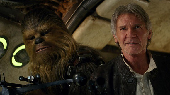 Han Solo and Chewbacca inside the Millennium Falcon in Star Wars: The Force Awakens.