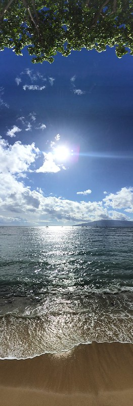 The vertical view of the water from downtown Lahaina.
