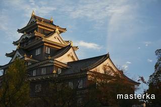 夕日の岡山城