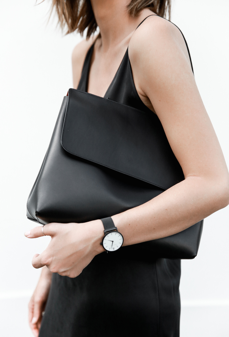 slip dress, street style, silk, black, Mansur Gavriel, Larsson Jennings, summer, modern legacy, fashion blogger