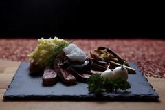 Dry aged fillet steak with winter vegetables