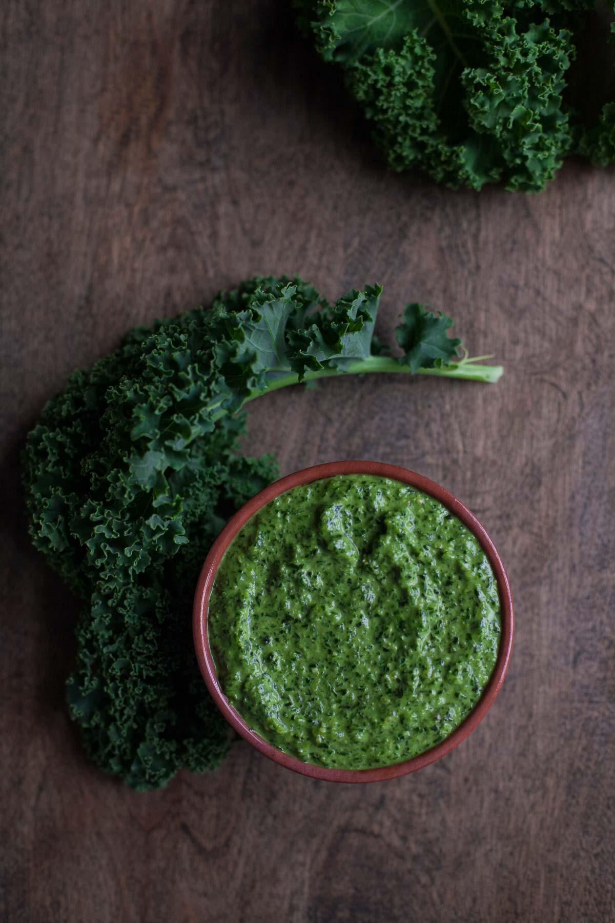 Carrot Top-Kale Pesto
