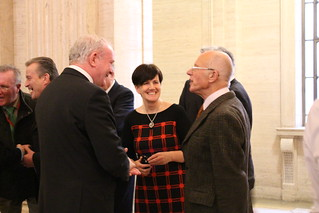 Martin McGuinness, Caitríona Ruane, and Rev Roy Taylor, a former student of CS Lewis at the launch of the portraits.