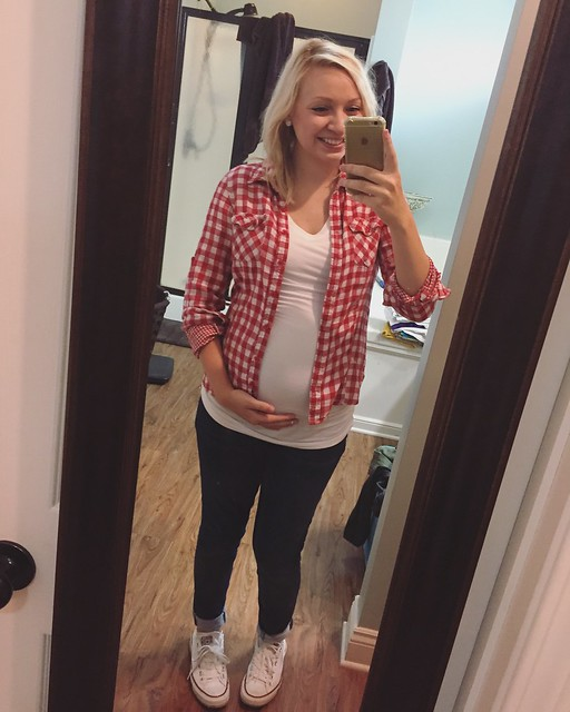 673140c36f Shirt  Liz Lange Maternity from Target (a favorite of mine) here . Button  Up  Instagram shop. Jeggings  Walmart online. Chucks  gift