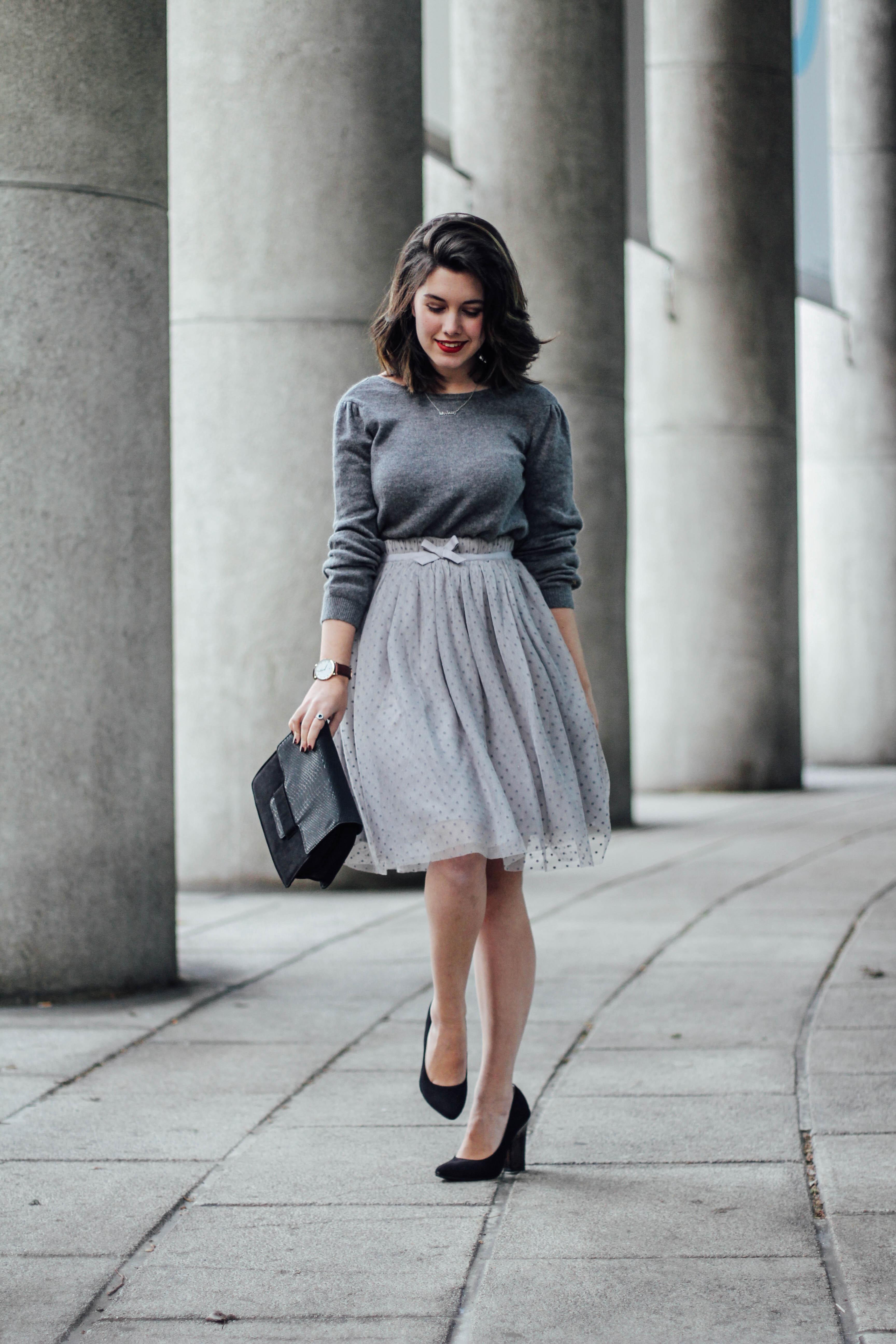look de navidad falda de tul gris myblueberrynightsblog