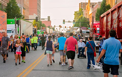 Crowd at the Shell Rotella SuperRigs parade in downtown Joplin Missouri