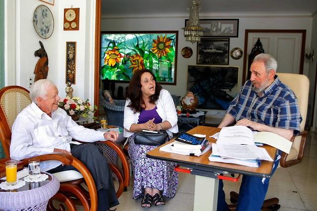 Fidel com o ex-presidente dos Estados Unidos Jimmy Carter - Créditos: CubaDebate