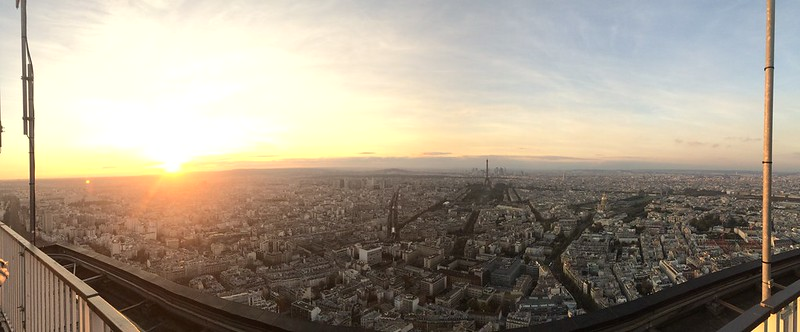 Sunset, Eiffel Tower, and Paris from Tour Montparnasse 56.
