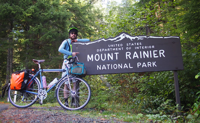 Neil and Stormy Skies at Mount Rainier National Park: After a lot of hard riding, I finally made it!