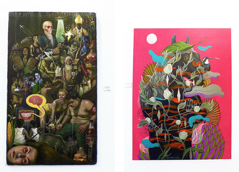 Manilart 2015 Left: Acrylic on Canvas piece entitled 'Thy Will Be Done' by Jojit Solano; Right: Acrylic on Canvas piece entitled 'Tikbalang' by Jonathan Benitez (both showcased by Art Galileia
